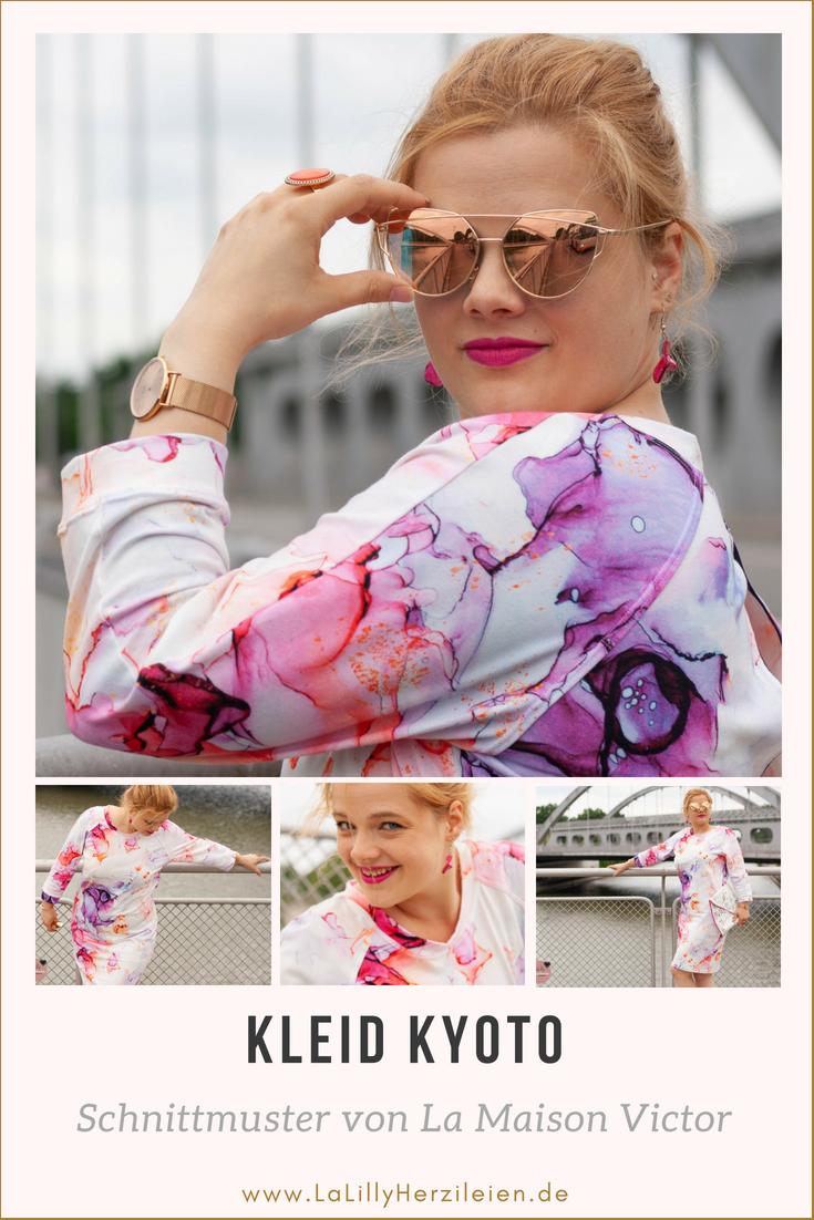 """The Bloomy Way ist die neue Adresse für ausgefallene, handgemalte Stoffdesigns. Erfahre alles über den marmorierten Watercolor Stoff """"Lilac Marble"""" und das Kleid Kyoto von La Maison Victor"""
