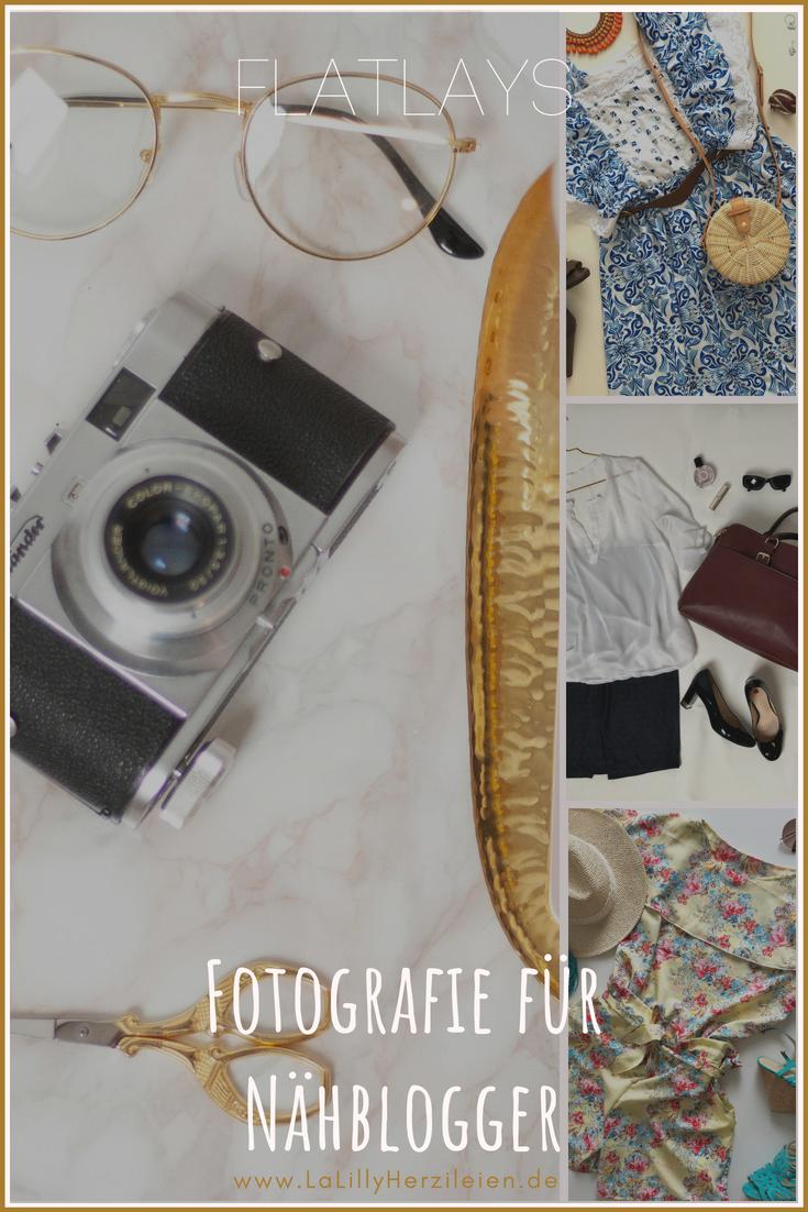 """Nicht alle Fotos die Genähtes zeigen, sind am Menschen fotografiert. Eine wichtige Kategorie, die es ermöglicht mit einfachen Mitteln Outfits aber auch allerlei Accessoires und Deko-Gegenstände stimmungsvoll selber zu fotografieren, sind Flatlays. Hilfreiche Tipps zur Flatlay Fotografie findest du in meiner Serie """"Fotografie für Nähblogger"""""""