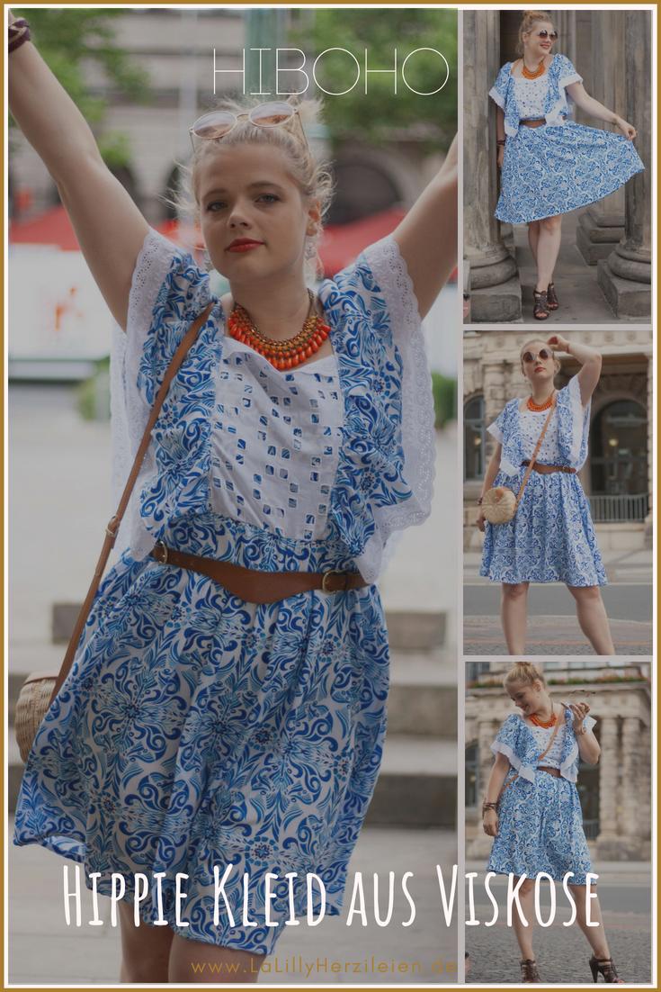 Ein Kleid nähen im Hippie-Style, das ist eine Idee, die mir jeden Sommer kommt und nun habe ich es endlich getan: Hiboho aus Viskose mit Watercolour-Print