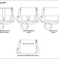 Schemazeichnung der Varianten der Boxbag Ysabel von LaLilly Herzileien