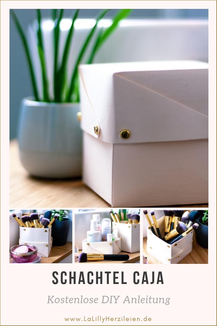 Kostenlose Anleitung: Die Schachtel Caja kann aus Materialien wie Filz, Snappap, Pappe, Einhornfolie und ähnlichem gefaltet oder genäht werden. Deckel und Unterteil dienen dir entweder kombiniert als geschlossene Box oder einzeln verwendet als praktische Utensilos.