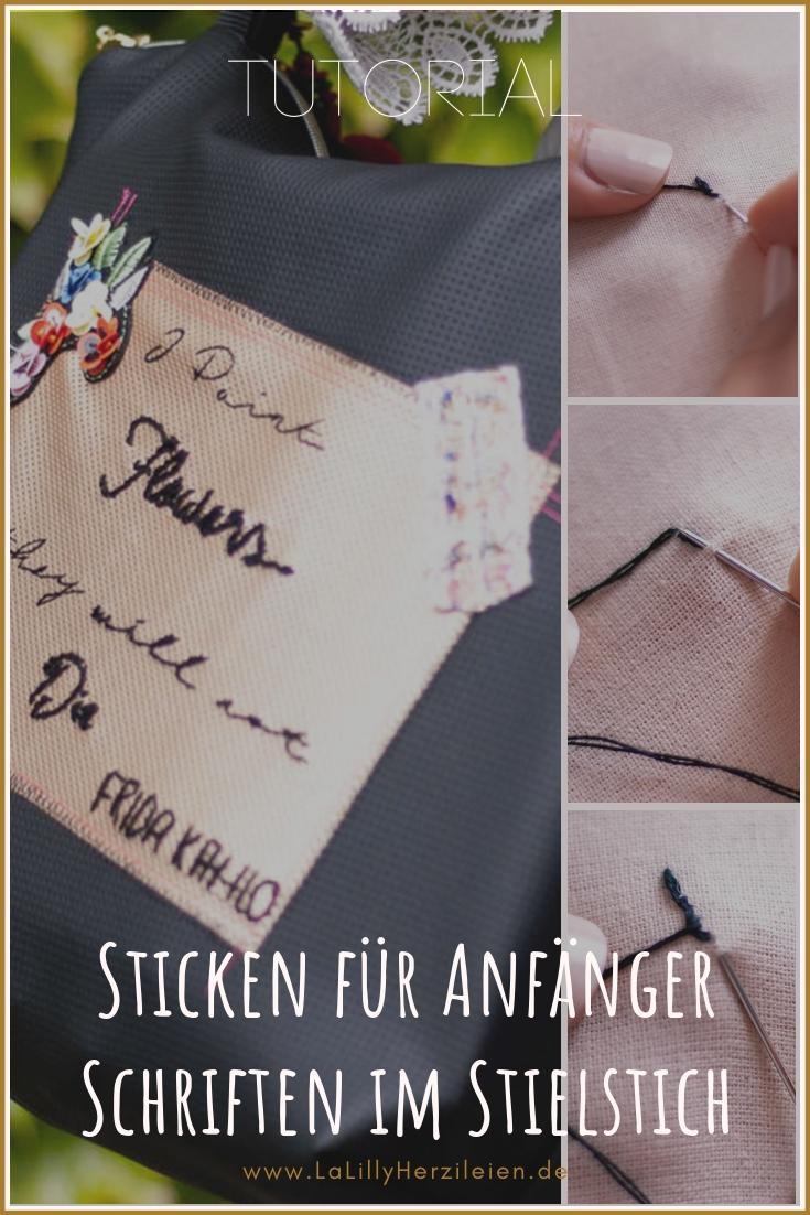 Der Stielstich ist ein einfacher Stickstich, mit dem du feine Konturen oder auch Schriften sticken kannst. Ich zeige dir Schritt für Schritt wie es geht!