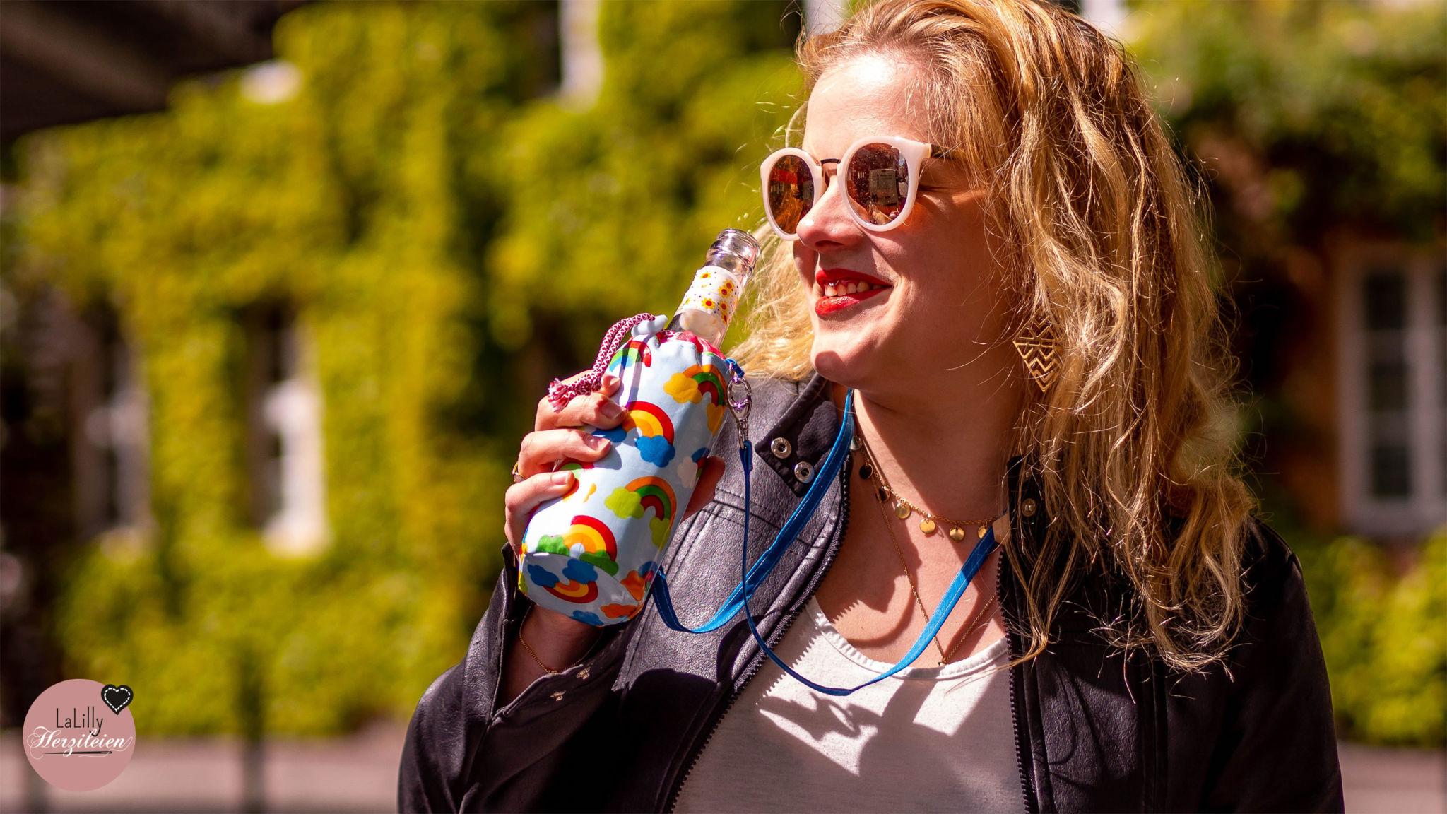 Bottlebag nähen: Refresca – Anleitung für den Paillettenperlenplunderfal