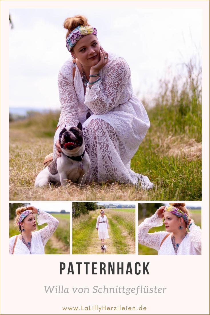 Willa von Schnittgeflüster ist ein Bohho-Hippie-Kleider oder Tunika Schnitt. Ich zeige dir wie du ein romantisches Spitzenkleid aus Willa nähen kannst!