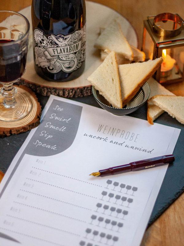 Druck dir deinen bewertungsbogen für eine selbstgemaschte Weinprobe kostenlos aus!