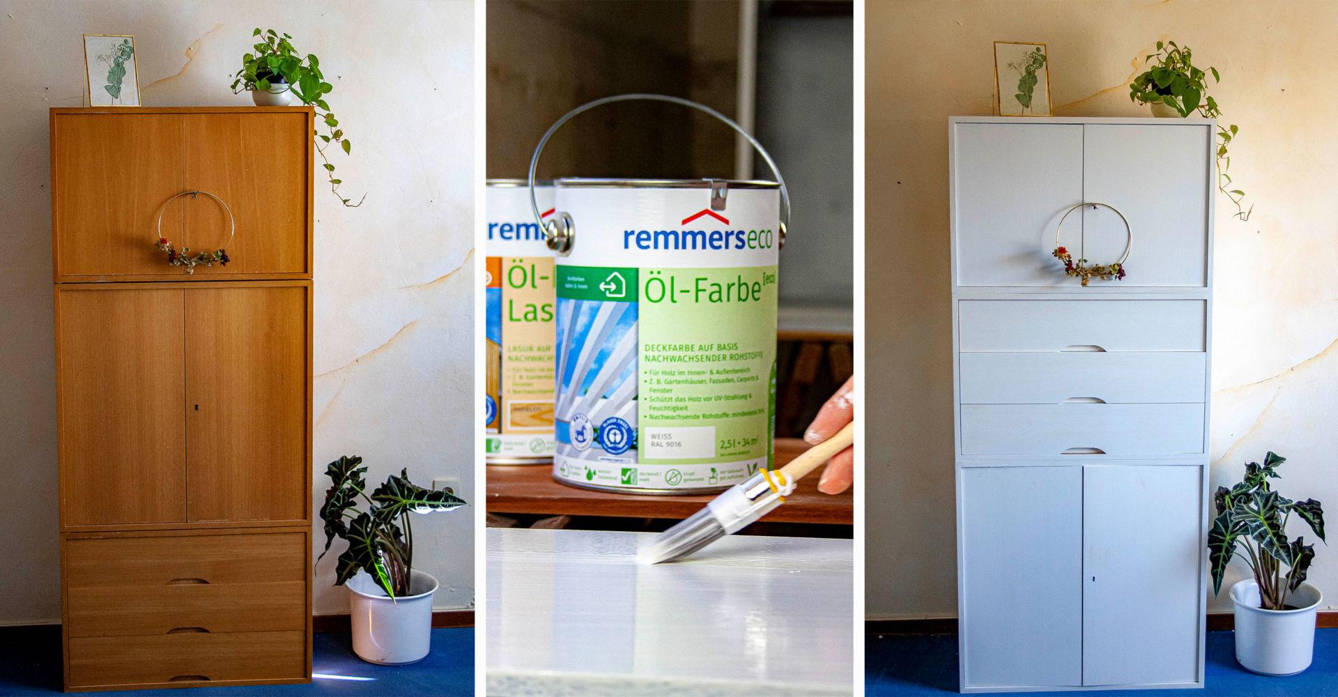 Anzeige: alten Schrank aufarbeiten mit Remmers[eco]-Farben