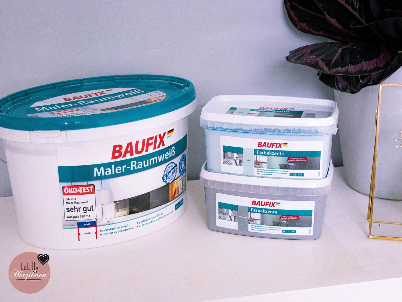 Wand mit Farbverlauf streichen: Das Material- Baufix Malerraumweiß, Baufix Farbakzente mint und Betongrau