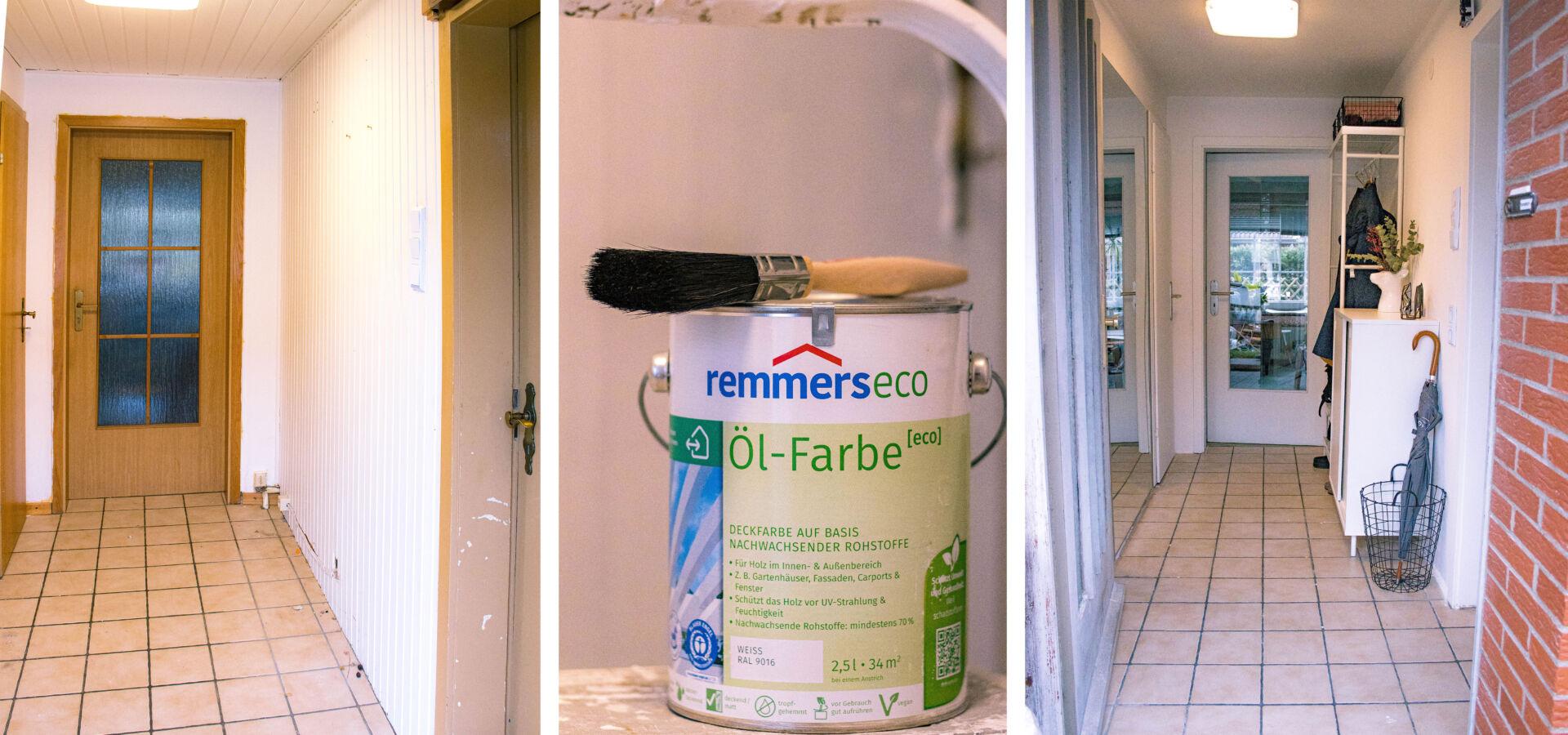 Anzeige:  Türen weiß streichen (vorher/nacher) mit Remmers [eco]